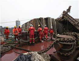 Wreck of the Sewol Loaded Onto Heavy Lift Ship