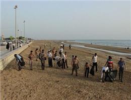 پاکسازی ساحل شهر امام حسن در بوشهر