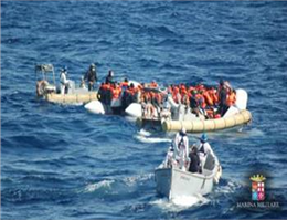 Italian Ship Rescues  Migrants off Libya